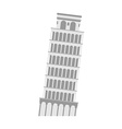 leaning tower of Pisa on a white background Italy vector image