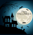 happy halloween post card house with cemetery vector image