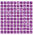 100 web and mobile icons set grunge purple vector image vector image
