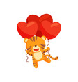 adorable tiger with red heart-shaped balloons vector image
