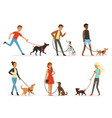 animal friendship happy people walking with funny vector image vector image