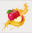 apple juice realistic spiral splash icon vector image