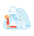 businesswoman with hourglass female office worker vector image vector image