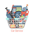 car repair station basket mechanic vehicle auto vector image vector image