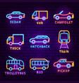car transport neon label set vector image vector image