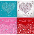 Collection of greeting cards with floral heart vector image vector image