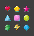 Colorful glossy shapes icons set isolated game vector image