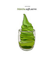 creamy green matcha icecream soft serve in glass vector image vector image