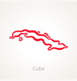 cuba - outline map vector image vector image