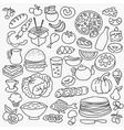 Doodle food icons hand drawn set vector image vector image