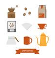 drip coffee icon set vector image