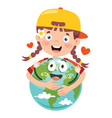earth day with funny character vector image vector image
