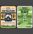 earth with green plant toxic waste and gas mask vector image