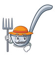 farmer ladles in the a character shape vector image