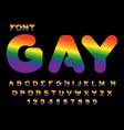 gay font rainbow letters lgbt alphabet abc vector image