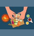 hands take food photo mobile phone vector image
