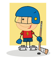 Happy Boy Playing Hockey Goalie vector image vector image