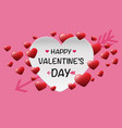happy valentines day white red heart on pink vector image