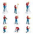 isometric set with home repair workers doing vector image vector image
