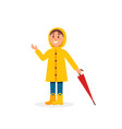 little girl in yellow raincoat holding umbrella vector image