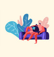 lovers couple relax outdoor at weekend man woman vector image
