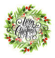 merry christmas lettering in mistletoe wreath vector image vector image
