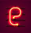 neon font letter e art design signboard vector image vector image