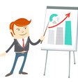 Office man presentating a graph on flipchart vector image vector image