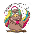 owl on a branch with colored wings in the vector image vector image