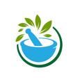 pharmacy medical logo natural mortar and pestle vector image vector image