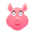 pig head female pink smiling on white background vector image vector image