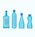 plastic blue water bottles set isolated on white vector image