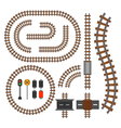 railroad and railway tracks construction elements vector image vector image
