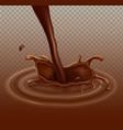 realistic chocolate splash liquid whirl vector image
