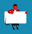 red devil holding banner blank satan and white vector image vector image