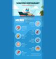 seafood menu delicious exotic restaurant marine vector image