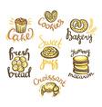 set bakery label on white background bakery vector image