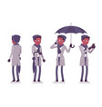 stylish young black man with umbrella standing vector image