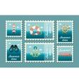 Summertime marine stamp set flat vector image