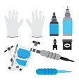 tattoo kit tools gloves and equipment in flat vector image vector image