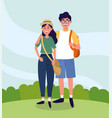 university woman and man couple with backpack vector image