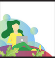 woman activity with laptop on garden flat vector image