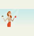 woman choosing between apple and cupcake vector image vector image