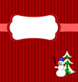 Christmas frame with snowman and fir vector image