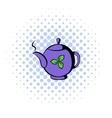 Teapot with tea icon comics style vector image