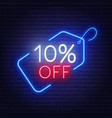 10 percent off neon sign on a dark background vector image vector image