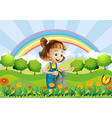 A young girl holding a sprinkler in the garden vector image vector image