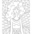 adult coloring bookpage a cute fairy summer on vector image