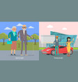 aged people walking in park young couple near car vector image vector image