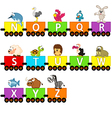 alphabet train animals from N to Z vector image vector image